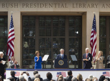 Former President George W. Bush speaks at the opening of his presidential library, which he says contains every book he has ever read.