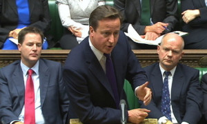 "David Cameron tells his fellow parliamentarians that terrorists are ""confused"" and ""unhappy with themselves."""