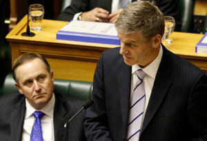 Bill English explains to Speaker David Carter that he wasn't able to bring his budget to Parliament today.