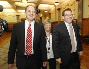 New leaders David Shearer and Grant Robertson had a spring in their step this morning after wrestling control of the party from themselves.