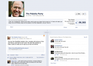 Former Reserve Bank Governor Don Brash seized control of the Pakeha Party Facebook page early this afternoon (Click to enlarge)