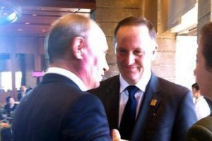 A photograph captures the moment that John Key silently eyeballed Russia's president.