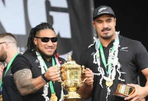 Ma'a Nonu and Jerome Kaino bring home a cup, which it turns we already have quite a few of, and it's not even a very good one for drinking from.