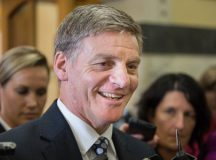 """PICTURED: Bill English regales media with tales of a """"pretty crazy"""" night in."""