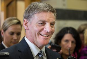 "PICTURED: Bill English regales media with tales of a ""pretty crazy"" night in."
