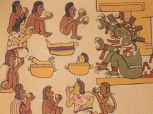 An ancient Aztec health shop owner dispenses patented health foods to his well-nourished customers.