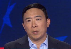 Andrew Yang demonstrates dangers of AI future by replacing self with uncharismatic, lifeless robot